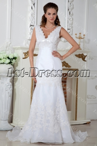 Elegant V-neckline Column Wedding Dresses with Train IMG_1452