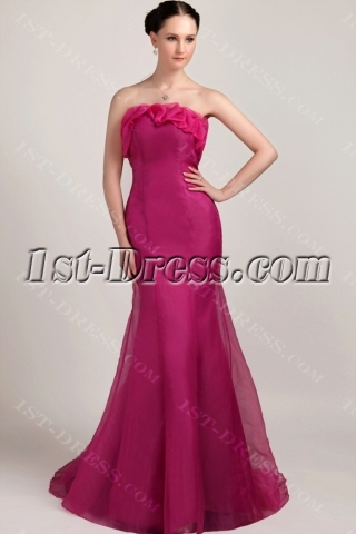 Fuchsia Long Strapless Mermaid Celebrity Dress with Train IMG_3176