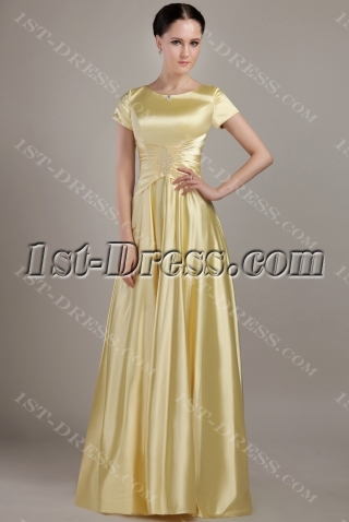 Gold Modest Bridesmaid Dress with Short Sleeves IMG_2998