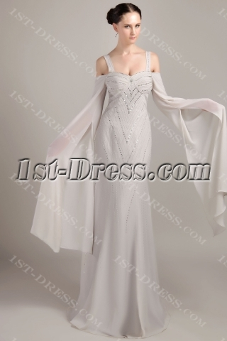 Gray Straps Long Sleeves Celebrity Dress IMG_3511