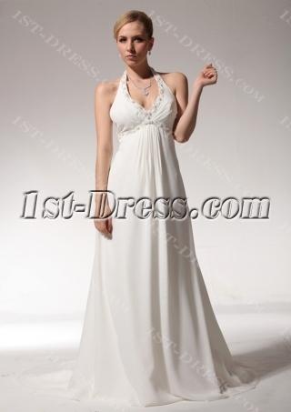 Halter Backless Chiffon Wedding Dresses for Pregnant bdjc890808