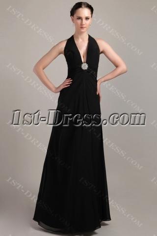 Halter Chiffon Long Formal Evening Dress with V-neckline IMG_3376