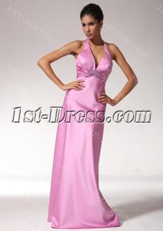 Halter Open Back Sexy Beach Bridesmaid Dresses edjc890109