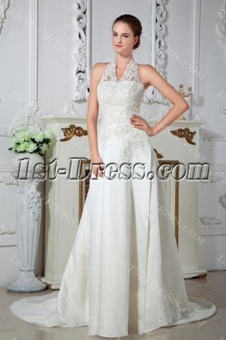 Halter Vintage Lace Wedding Dresses IMG_1528