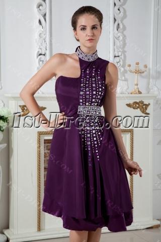 High Neckline Grape Special Asymmetrical Pretty Prom Dress IMG_1980