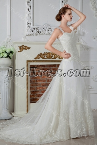 Ivory A-line Princess Bridal Gowns with Straps IMG_1549