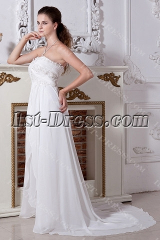 Long Ivory Maternity Wedding Dresses Plus Size with Train IMG_2039