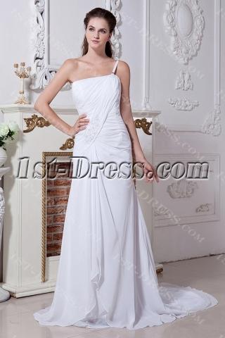 One Shoulder Chiffon Beach Bridal Gown with Train IMG_1890