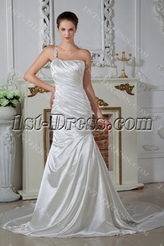 One Shoulder Sheath Wedding Dresses for Beach Weddings IMG_1580