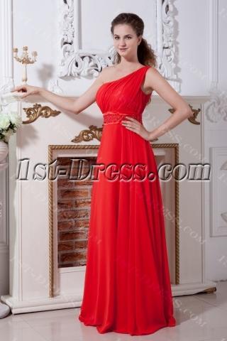 Red Long One Shoulder Modest Celebrity Dress IMG_2174