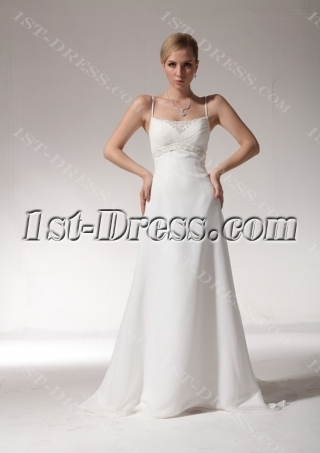 Romantic Beaded Spaghetti Straps Petite Wedding Dress bdjc890908