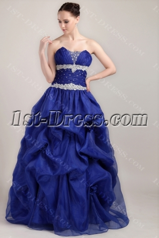 Royal Blue 15 Quince Dress with Floral IMG_3453