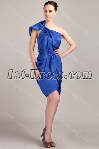 Royal Blue Tea Length Mother of Groom Dress with One Shoulder IMG_3360
