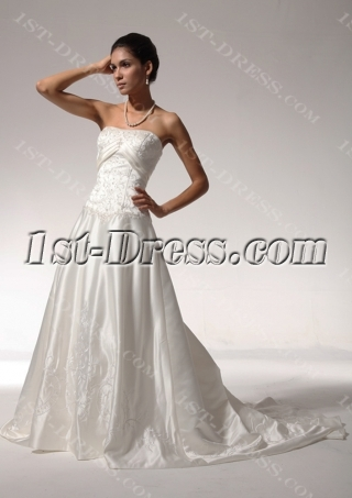 Satin Simple Destination Wedding Dresses with Embroidery bdjc890508