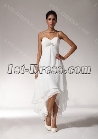 Sexy High-low Hem Casual Beach Wedding Dresses bmjc890408
