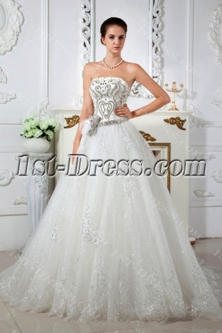 Shine Strapless Princess Ball Gown Wedding Dresses IMG_1634