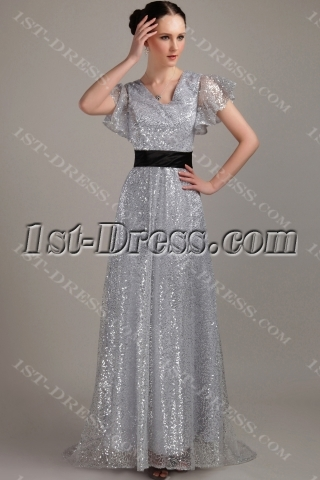 Silver and Black Celebrity Dress with Sleeves IMG_3288