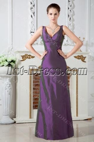 Simple Long Purple V-neckline Bridesmaid Gown 2012 IMG_1777