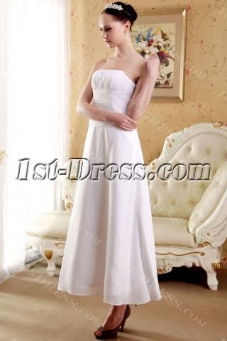 Strapless Elegant Tea Length Short Bridal Gown IMG_3663