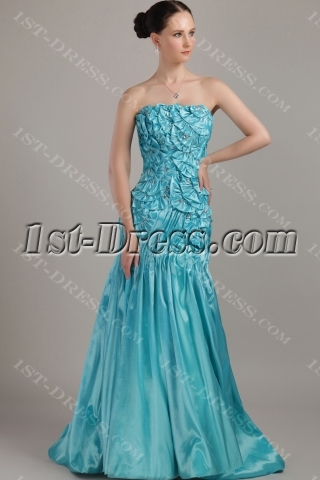 Strapless Teal Unique Pretty Prom Gown IMG_3253