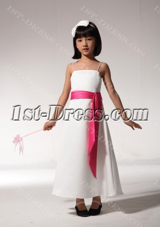 Tea Length Cheap Formal Girl Party Dress with Hot Pink Sash fgjc890509