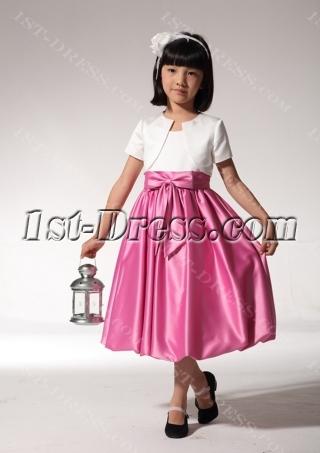 Tea Length Hot Pink Flower Girl Dress with Jacket fgjc890309