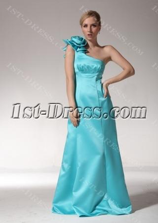 Teal Blue One Shoulder Long 2012 Evening Dress bmjc891108
