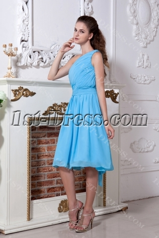 Turquoise One Shoulder Summer Homecoming Dress IMG_1863