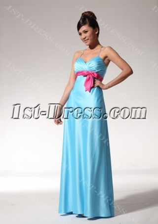 Turquoise and Hot Pink Modern Beach Bridesmaid Dresses bmjc890208