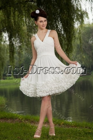 V-neckline Short White Cute Sweet 16 Dress IMG_0719