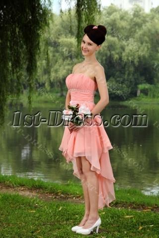 Water Melon Sweet High-low Hem Graduation Dress IMG_0836
