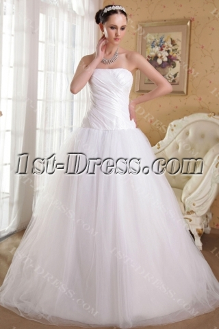 White Simple Pretty Quinceanera Gown with Train IMG_3578