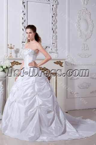 White Strapless Luxurious Princess Bridal Gown with Train IMG_2152