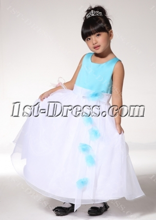 White and Blue Toddler Flower Girl Dresses fgjc890209