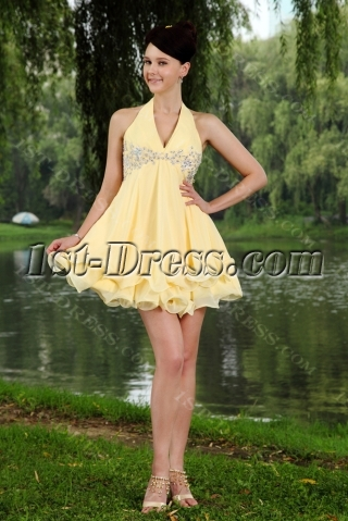 Yellow Cheap Halter Cute Chiffon Mini 15 Quince Gown Dress IMG_0763