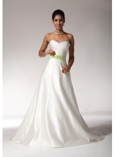 2012 Sweetheart Beach Wedding Dresses with Green Color bdjc891208