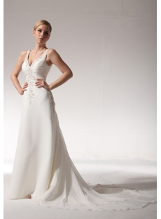 2012 V Neckline Couture Bridal Gowns with Chapel Train bdjc890208