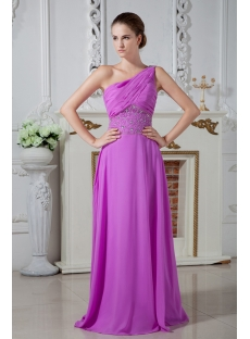 2013 Long Lilac One Shoulder Graduation Dress IMG_1917
