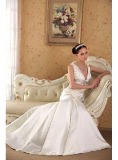 Affordable V-neckline Simple Bridal Gown with Keyhole IMG_3570