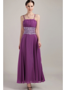 Ankle Length Grape Spaghetti Straps Graduation Dresses IMG_3210