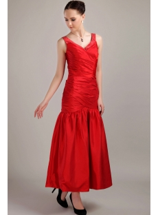 Ankle Length Red Prom Dress with V-neckline IMG_3114