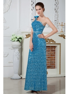 Ankle-length Blue and Silver Sequins One Shoulder Colorful Evening Dress IMG_1711