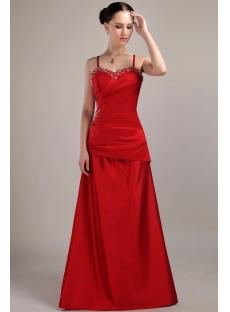 Beach Spaghetti Straps Bridesmaid Dresses Red Long IMG_3070
