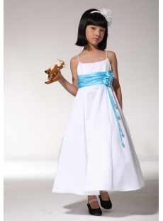 Beautiful Flower Girl Party Dresses Ivory with Blue fgjc890109