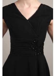 Black Modest High-low Prom Dress with Short Sleeves IMG_3384
