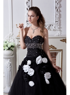 Black and White Pretty Quinceanera Dress 2013 with Flower IMG_1848