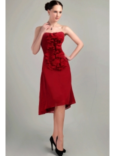 Burgundy High-low Cute Short Graduation Dress IMG_3104