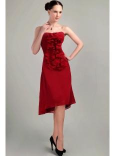 Burgundy High-low Cute Short Graduation Dress IMG_3104