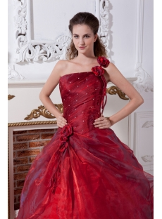 Burgundy One Shoulder 15 Quinceanera Dress IMG_2166