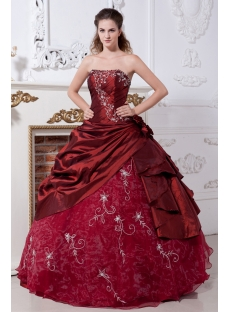 Burgundy Pretty Quinceanera Dresses Cheap IMG_2131